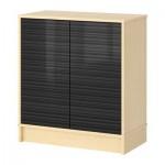 ЭФФЕКТИВ Комбинация для хранения с дверцами - березовый шпон, глянцевый черный/с рисунком
