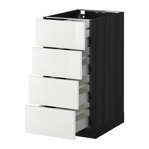 МЕТОД / МАКСИМЕРА Напольн шкаф 4 фронт панели/4 ящика - 40x60 см, Рингульт глянцевый белый, под дерево черный