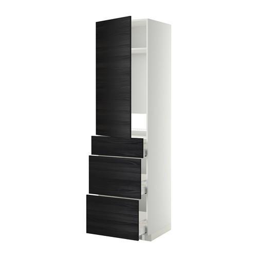 МЕТОД / МАКСИМЕРА Выс шкаф д/холодильн, с дврц/3 ящ - Тингсрид под дерево черный, белый