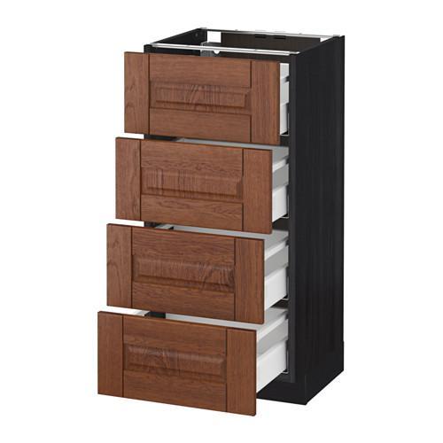 МЕТОД / МАКСИМЕРА Напольн шкаф 4 фронт панели/4 ящика - 40x37 см, Филипстад коричневый, под дерево черный