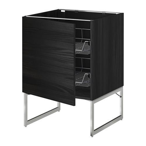 МЕТОД Напольный шкаф с проволочн ящиками - 60x60x60 см, Тингсрид под дерево черный, под дерево черный