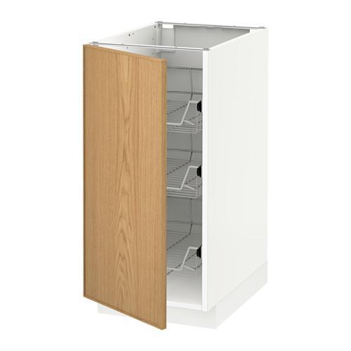 МЕТОД Напольный шкаф с проволочн ящиками - 40x60 см, Экестад дуб, белый