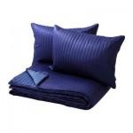 КАРИТ Покрывало и 2 чехла на подушку - синий, 260x280/40x60 см
