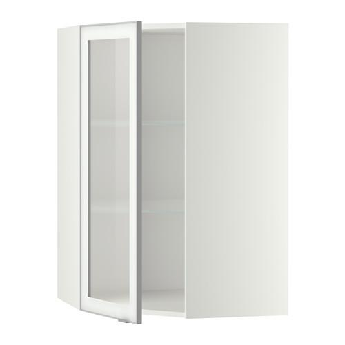 МЕТОД Углов навесн шк с полками/сткл дв - 68x100 см, Ютис матовое стекло/алюминий, белый