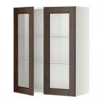 МЕТОД Навесной шкаф с полками/2 стекл дв - 80x100 см, Эдсерум под дерево коричневый, белый