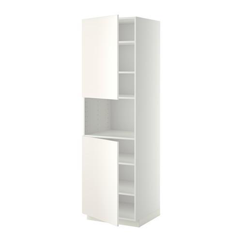 МЕТОД Выс шкаф д/СВЧ/2 дверцы/полки - 60x60x200 см, Веддинге белый, белый