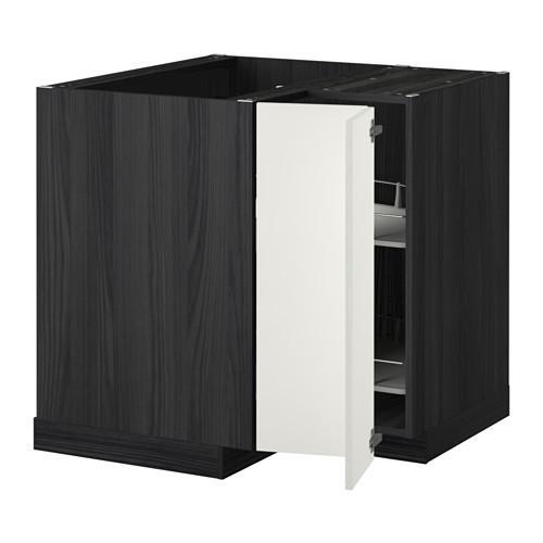 МЕТОД Угл напольн шкаф с вращающ секц - Хэггеби белый, под дерево черный