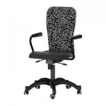 NOMINELL swivel easy chair - black / patterned