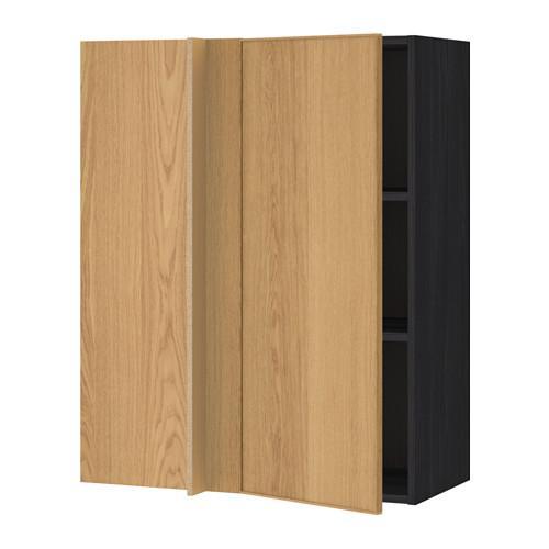 Pensile metodo angolo con ripiani legno nero rovere - Mensole legno ikea ...