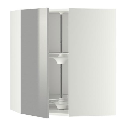 МЕТОД Угл нвсн шкф с вращающ секц - 68x80 см, Гревста нержавеющ сталь, белый