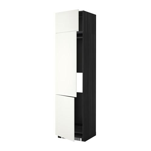 МЕТОД Выс шкаф для хол/мороз с 3 дверями - 60x60x240 см, Хэггеби белый, под дерево черный