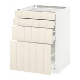 МЕТОД / МАКСИМЕРА Напольн шкаф 4 фронт панели/4 ящика - 60x60 см, Хитарп белый с оттенком, белый