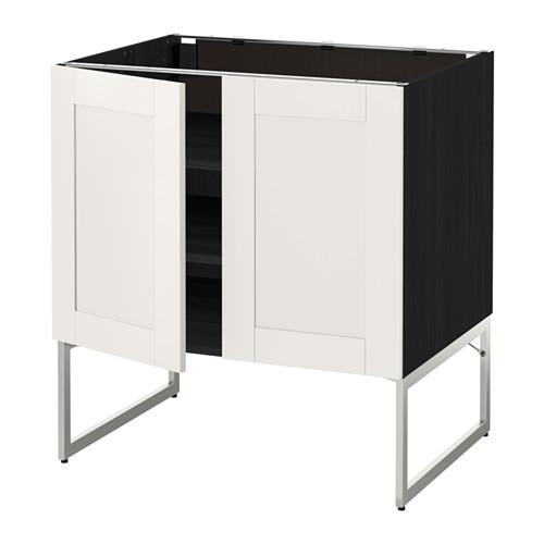 МЕТОД Напол шкаф с полками/2двери - 80x60x60 см, Сэведаль белый, под дерево черный