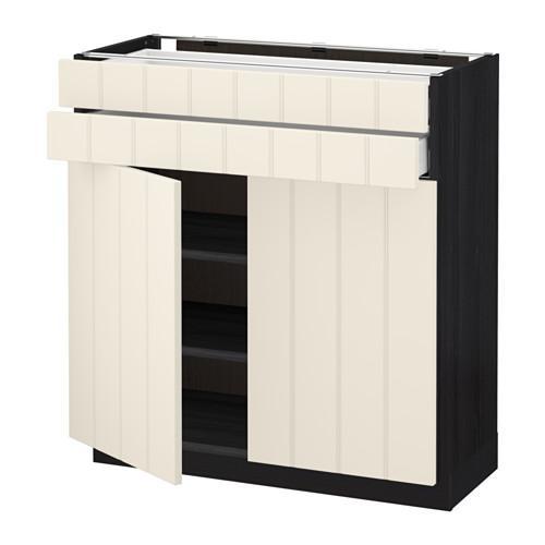 МЕТОД / МАКСИМЕРА Напольный шкаф/2дверцы/2ящика - 80x37 см, Хитарп белый с оттенком, под дерево черный