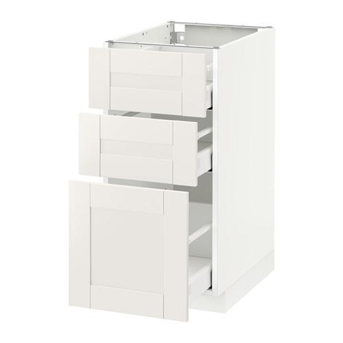 МЕТОД / МАКСИМЕРА Напольный шкаф с 3 ящиками - 40x60 см, Сэведаль белый, белый