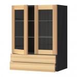 МЕТОД / ФОРВАРА Навесной шкаф/2 стек дв/2 ящика - под дерево черный, Торхэмн естественный ясень, 60x80 см