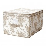 ГАРНИТУР Коробка с крышкой - бежевый/белый цветок, 42x56x32 см