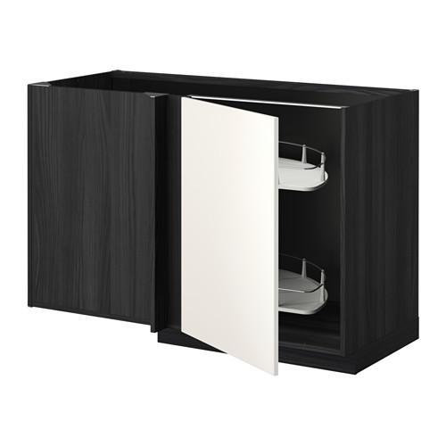 МЕТОД Угловой напол шкаф с выдвижн секц - Веддинге белый, под дерево черный