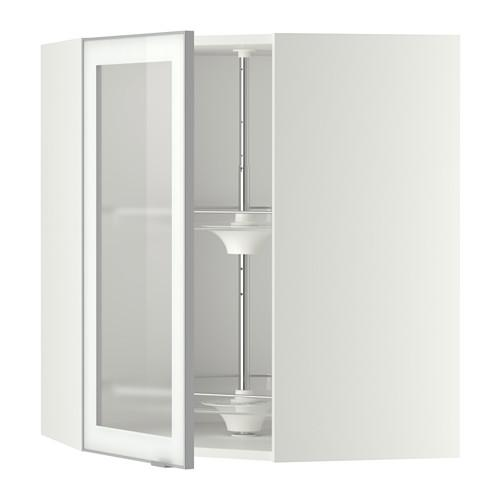 МЕТОД Углов навесн шк с врщ скц/сткл дв - 68x80 см, Ютис матовое стекло/алюминий, белый