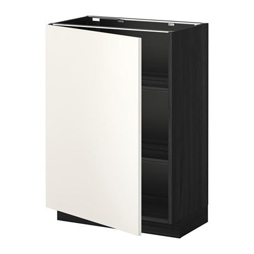 МЕТОД Напольный шкаф с полками - 60x37 см, Веддинге белый, под дерево черный