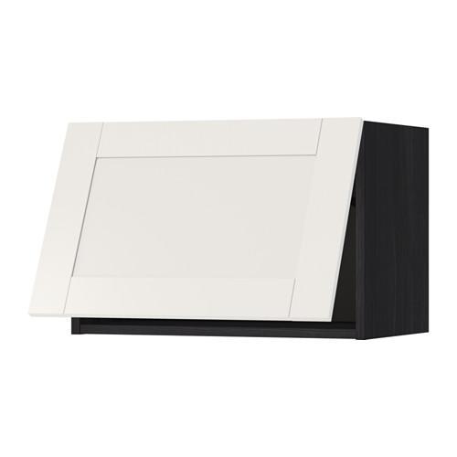 МЕТОД Горизонтальный навесной шкаф - 60x40 см, Сэведаль белый, под дерево черный