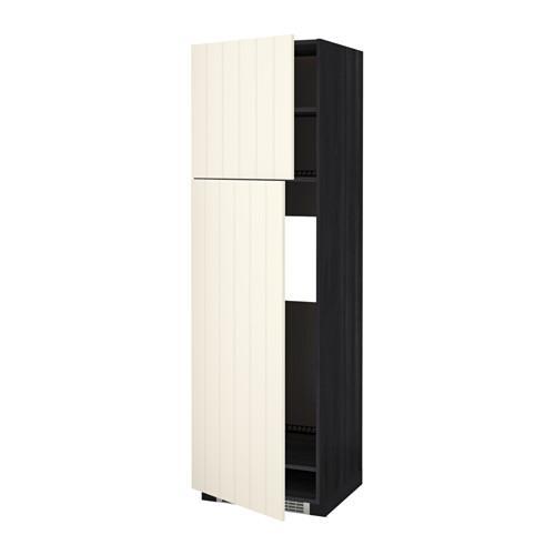 МЕТОД Высокий шкаф д/холодильника/2дверцы - 60x60x200 см, Хитарп белый с оттенком, под дерево черный