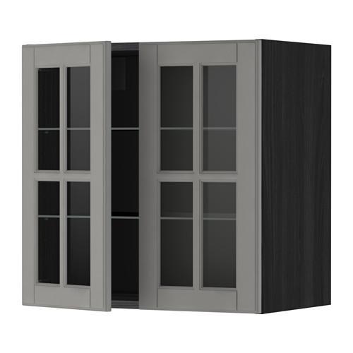 МЕТОД Навесной шкаф с полками/2 стекл дв - 60x60 см, Будбин серый, под дерево черный