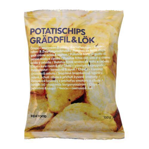 POTATISCHIPS GRÄDDFIL & LÖK Картоф чипсы со вкус лука и сметаны
