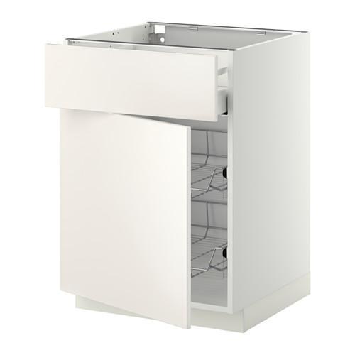 МЕТОД / МАКСИМЕРА Напольн шкаф с пров корз/ящ/дверью - 60x60 см, Веддинге белый, белый