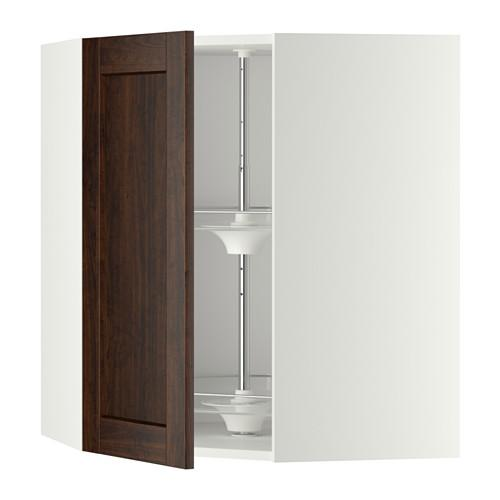 МЕТОД Угл нвсн шкф с вращающ секц - 68x80 см, Эдсерум под дерево коричневый, белый