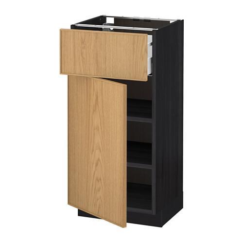 МЕТОД / МАКСИМЕРА Напольный шкаф с ящиком/дверью - 40x37 см, Экестад дуб, под дерево черный