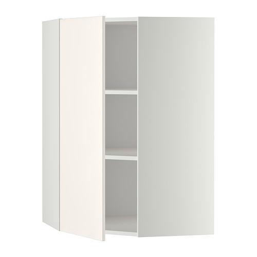 МЕТОД Угловой навесной шкаф с полками - 68x100 см, Веддинге белый, белый