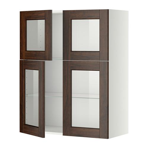 МЕТОД Навесной шкаф с полками/4 стекл дв - белый, Эдсерум под дерево коричневый