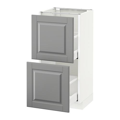 МЕТОД / МАКСИМЕРА Напольный шкаф с 2 ящиками - 40x37 см, Будбин серый, белый