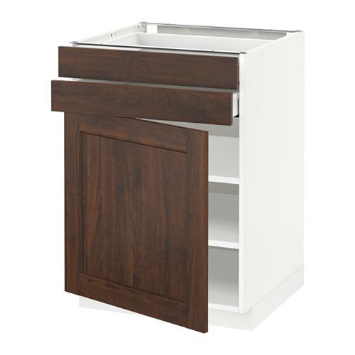 МЕТОД / МАКСИМЕРА Напольный шкаф с дверцей/2 ящиками - 60x60 см, Эдсерум под дерево коричневый, белый