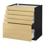 MÉTODO / gabinete FORVARA Base con cajones 5 - 80x60 cm Tingsrid abedul, madera negro