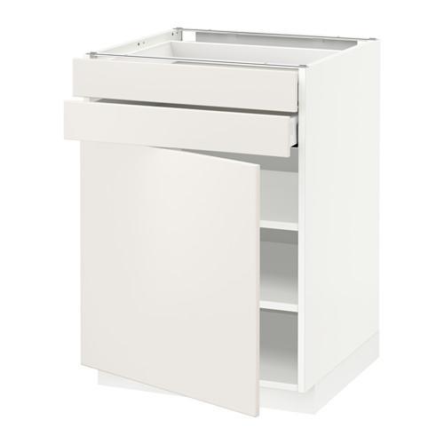 МЕТОД / МАКСИМЕРА Напольный шкаф с дверцей/2 ящиками - 60x60 см, Веддинге белый, белый