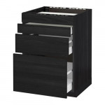 METHOD / MAXIMER Nap oven cabinet / 4 facade / 3 drawer - for wood black, Thingsried for wood black, 60x60 cm