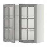 МЕТОД Навесной шкаф с полками/2 стекл дв - 80x80 см, Будбин серый, белый