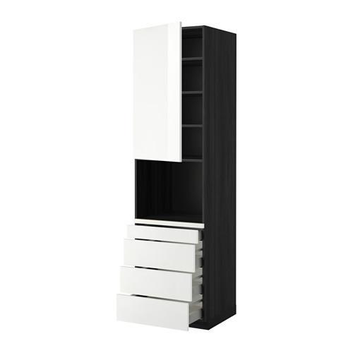 МЕТОД / МАКСИМЕРА Высокий шкаф д/комбинир СВЧ/4 ящика - 60x60x220 см, Рингульт глянцевый белый, под дерево черный