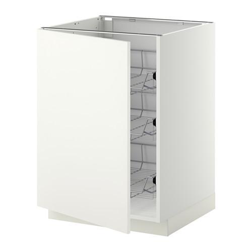 МЕТОД Напольный шкаф с проволочн ящиками - 60x60 см, Хэггеби белый, белый