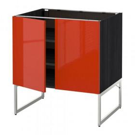МЕТОД Напол шкаф с полками/2двери - под дерево черный, Ерста глянцевый оранжевый, 80x60x60 см