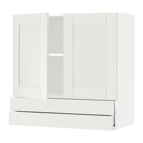 МЕТОД / МАКСИМЕРА Навесной шкаф/2дверцы/2ящика - 80x80 см, Сэведаль белый, белый