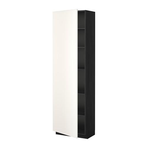 МЕТОД Высок шкаф с полками - 60x37x200 см, Веддинге белый, под дерево черный