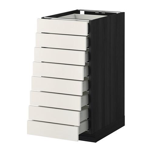 МЕТОД / МАКСИМЕРА Наполн шкаф 8 фронт/8 низк ящиков - 40x60 см, Веддинге белый, под дерево черный