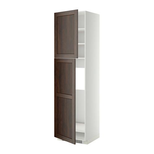 МЕТОД Высокий шкаф д/холодильника/2дверцы - 60x60x220 см, Эдсерум под дерево коричневый, белый