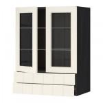 МЕТОД / ФОРВАРА Навесной шкаф/2 стек дв/2 ящика - 60x80 см, Хитарп белый с оттенком, под дерево черный
