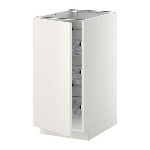 МЕТОД Напольный шкаф с проволочн ящиками - 40x60 см, Веддинге белый, белый