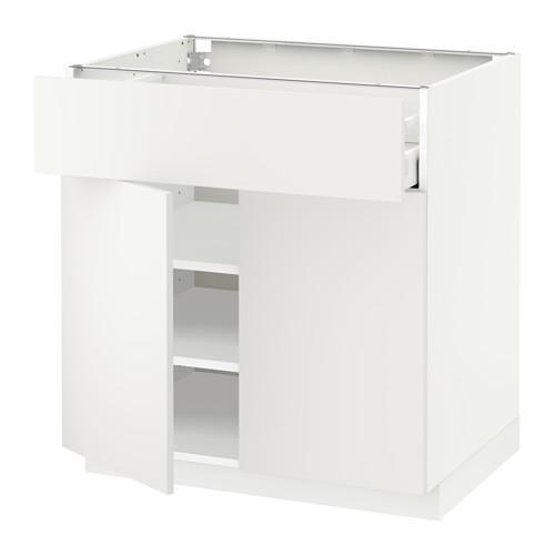 МЕТОД / МАКСИМЕРА Напольный шкаф+ящик/2дверцы - 80x60 см, Хэггеби белый, белый