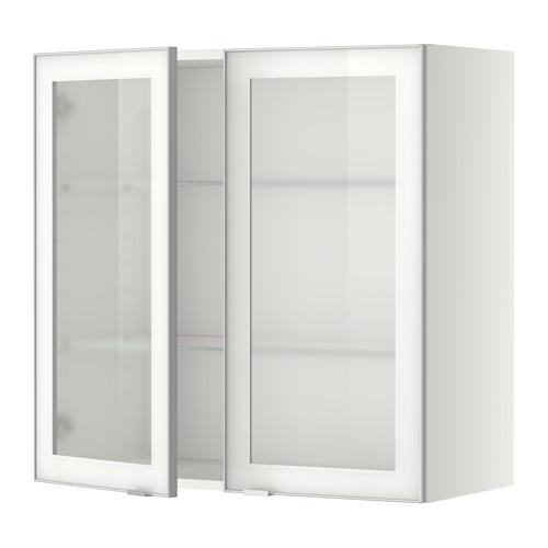МЕТОД Навесной шкаф с полками/2 стекл дв - 80x80 см, Ютис матовое стекло/алюминий, белый